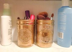 DIY Makeup Storage Solutions: Pinterest is the place for DIY beauty lovers. These gold-painted mason jars are ideal for makeup brushes and mascaras. And it is just one of many ways you can get creative with your bathroom storage.