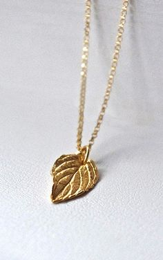 Gold Leaf Necklace Gold Filled Chain