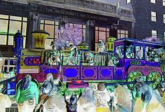 "The Conde Cavaliers kick off Mardi Gras in Mobile, Alabama each Carnival season. Their name is derived from the French General Prince de Conde, for whom the local Fort Conde is named. The locomotive float seen here is part of their three-unit emblem, used since their formation in 1977.   This image has an inverted color scheme and poster edges added to the original version of my ""Conde Cavaliers Railroad"" photograph in my gallery. For sale at marian-bell.pixels.com…"