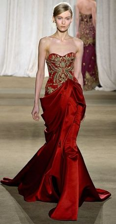 red and gold marchesa gown