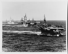 Task Group 38.3 turning to starboard, entering the Ulithi Atoll, Dec 1944. From front: USS Langley (CVL-27), USS Ticonderoga (CV-14), USS Washington (BB-56), USS North Carolina (BB-55), USS South Dakota (BB-57) and four light cruisers. This was a tiny fraction of the entire group. [6118x4920]