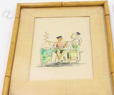Antique Art Watercolor Oriental PAIR Asian Vintage Original Signed Hoisin Frame  $124.99 #antiqueart #watercolor #AsianOriental