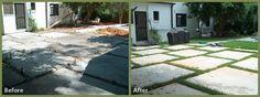 checkerboard concrete driveway