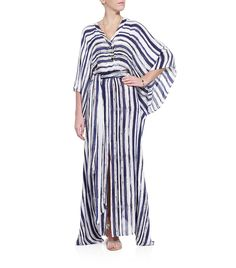 escada. love this kaftan. great with gold jewelry and gold flips.