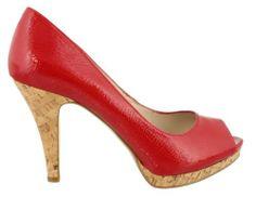 Nine West Women's Danee Platform Peep Toe Pumps in Red Size 6