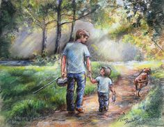 Father and Son Fishing boy sports Dad Print Reproduction original painting Pastel 8x10