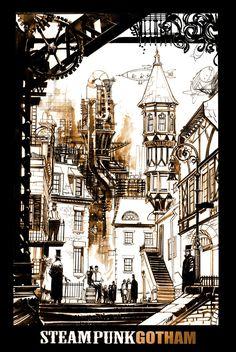 Steampunk Gotham by seangordonmurphy