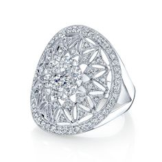 Coronet Diamonds Mini Kneph Diamond Right Hand Ring in 14k White Gold -0.83 Total Diamond Weight Conflict Free Round Brilliant Cut Diamonds Diamond Color - Near Colorless (G, H, I)  Diamond Clarity - VS/SI Clarity Coronet Solitaire Patented Cluster 14 Karat White Gold Size 7 Item# FW40728D3C [Holiday Wish List]