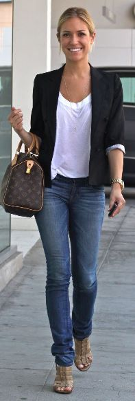 this combo is everywhere... Recreate with CAbi's city blazer and resort tee