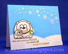 A cute and cuddly winter or Christmas card made using embossing paste, the newest Operation Write Home fundraiser stamps from Hero Arts, and a stencil cut from acetate on my Silhouette Cameo.