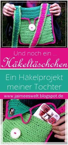 Wenn Kinder häkeln lernen ... entstehen kleine Häkeltäschchen wie diese * When kids learn to crochet little crochet bags like this one arise