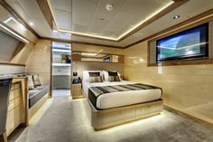 """Guest bedroom onboard the incredible private superyacht """"Zenith"""". Designed by ID Studios Pyrmont"""