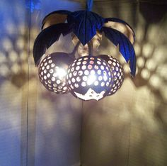 Wood Hanging Lamp Swag Coconut Shell Fruit Lamp by WoodenZone, $26.00