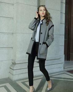 Dark Gray Wool Long Sleeve Coat for Women, Dark gray, Irina Miro | VIPme