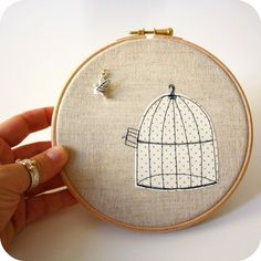uncaged bird #embroidery #hoop