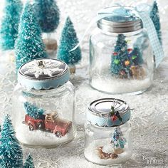For a nontraditional take on snow globes, craft a set of holiday snow scenes using jars. Sprinkle faux snow in the bottom of the jar, and add trinkets and small toys. Top with ribbons, lace, or sprigs of holly, and display on your mantel or as a centerpiece for all to enjoy./