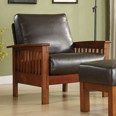 @Overstock - Enrich your home decor with a mission style chair  Living room furniture features a solid wood frame  Hills armchair covered in bi-cast leatherhttp://www.overstock.com/Home-Garden/Hills-Mission-style-Bi-cast-Leather-Oak-Chair/4268736/product.html?CID=214117 $229.99
