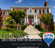 1865 E Ridge Point Dr, Bountiful 7 Beds | 6 Baths | 6,854 Sqft  Stunning views from all sides of home, 3-tone paint, hardwood floors, granite counter tops, stainless steel appliances, custom cabinets & woodwork throughout home, huge kitchen, double ovens, mud room with lockers, big laundry room w/ cabinets & sink, 10' ceilings on main, custom ceilings, formal dining & living rooms, kitchenette & game room in basement, sauna, beautiful landscaping.  Call or text 801-529-2688 📲 Rodger Jessop
