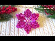 Foam Christmas Ornaments, Outdoor Christmas Tree Decorations, Origami Christmas Ornament, Christmas Crafts, Foam Sheet Crafts, Foam Crafts, Paper Crafts, Ribbon Flower Tutorial, Satin Flowers
