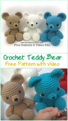 Crochet Bear Amigurumi Crochet Teddy Bear Free Pattern with Video - Amigurumi Crochet Teddy Bear Toys Free Patterns - Crochet Bear Patterns, Crochet Animals, Teddy Bear Patterns, Crochet Ideas, Crochet Patterns Amigurumi, Crochet Dolls, Crocheted Toys, Crochet Crafts, Crochet Projects