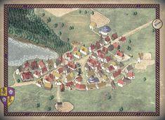 Art] Amphail Village Map : DnD Village map Fantasy city map Fantasy map