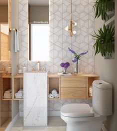 I have always loved the use of geometric tiles but this is definitely one of the most beautiful feature walls yet 🌟 House Bathroom, Bathroom Interior Design, Interior, Modern Bathroom, Home Interior Design, Bathrooms Remodel, Bathroom Decor, Beautiful Bathrooms, Geometric Tiles