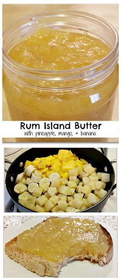 "Rum Island Butter with Pineapple, Mango & Banana - like apple butter for the spring. It's often called ""monkey butter"" but This has fewer bananas. Flavored Butter, Homemade Butter, Rum Butter, Butter Mochi, Butter Pasta, Butter Icing, Cookie Butter, Butter Shrimp, Steak Butter"