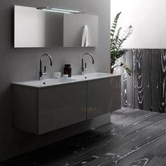 Beautiful bathroom using coloured timber porcelain tiles #woodgrain #signorinotilegallery