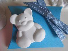 Bomboniera nascita/battesimo con orsetto gesso profumato e scatolina portaconfetti