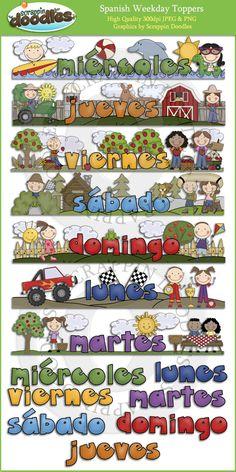 Día de la semana ESPAÑOLA primeros de Clip Art Descargar - $ 4.00: Scrappin Doodles, creativa del clip del arte, y más Websets