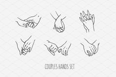 Set of love couples holding hands. Collection of 6 isolated hands holding each other. Print for postcard and other design production. Hand Holding Tattoo, Holding Hands Drawing, Hands Holding Flowers, Tattoos Of Hands Holding, Holding Hands Quotes, Two Hands Tattoo, Line Art Tattoos, Mini Tattoos, Love Tattoos