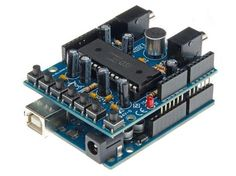 Velleman KA02: Audio Shield for Arduino  Record your voice via a built-in microphone or a line input.  Also available as completely mounted module VMA02