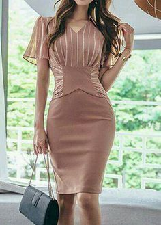 Stripe Print Back Slit V Neck Sheath Dress Modest Dresses, Sexy Dresses, Cute Dresses, Short Dresses, Fashion Dresses, Formal Dresses, Sheath Dress, Dress Skirt, Bodycon Dress