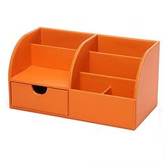 UnionBasic Multifunctional PU Leather Office Desk Organizer Business Card/Pen/Pencil/Mobile Phone/Stationery Holder Storage Box (Orange)