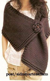 Sidney Artesanato: Xale de tricot Marron