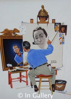 A new painting on Etsy.  https://www.etsy.com/listing/185938386/triple-self-portrait-norman-rockwell-oil