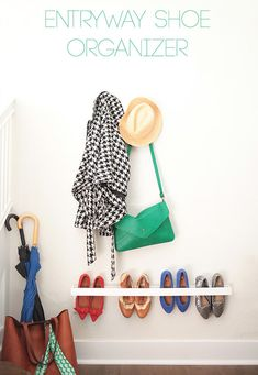 Here's another clever way to hang your shoes on a wall: | 21 Insanely Clever Ways To Create Space For Your Room
