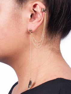 Gold Multiple Chain Leaf Ear Cuff