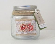 Jar, English Tea, With Twine, Pearls, Burlap, Lace, Roses And Burlap Tag 4in X 4in, Kitchen Docor, Storange Jar