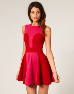 red and pink party dress