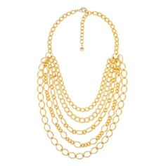 Multiple Assorted Chain Necklace in Gold Tone