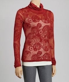 Take a look at this Rust Burnout Turtleneck Top by Coline USA on #zulily today!