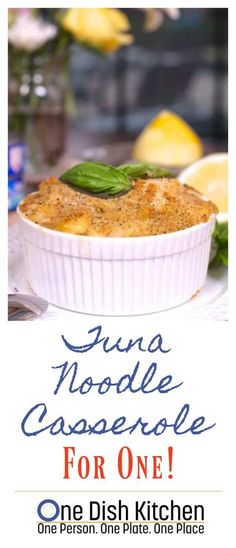 Four Kitchen Decorating Suggestions Which Can Be Cheap And Simple To Carry Out Delicious Tuna Noodle Casserole For One Made With A Rich And Creamy Homemade Sauce. The Ultimate Single Serving Comfort Food One Dish Kitchen Tuna Casserole Recipes, Noodle Casserole, Cooking For One, Meals For One, Easy Cooking, Small Meals, Recipes For One Person, One Person Meals, Cooking Lamb