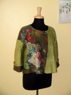 Nuno felted jacket, wonderfully beautiful flowers, moss green. $225.00, via Etsy.