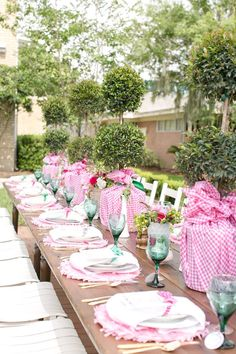 Pink gingham and blue shower. Coordination, Design, and Custom Decor: Ashton Events / Furniture, Props, and Design: Wish Vintage Rentals / Floral Design: Peplum Events