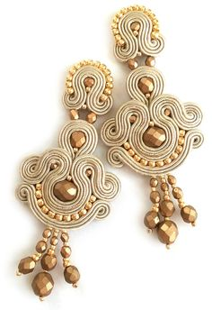 Soutache jewelry Soutache post earrings Bridal by SaboDesign