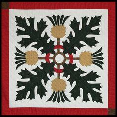 "Sue Garman This site has a photo of the quilt by Sue Garman ""Lily Rosenberry"" which is just beautiful and is on my bucketlist of quilts to make. Hand Applique, Wool Applique, Applique Quilts, Flower Applique, Celtic Quilt, Quilt Block Patterns, Pattern Blocks, Quilt Blocks, Green Quilt"