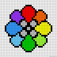Rainbow Badge - Pokemon Perler Bead Pattern