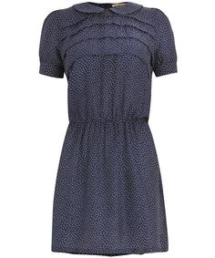 Navy Polka Dot Silk Dress