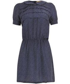 Navy Polka Dot Silk Dress